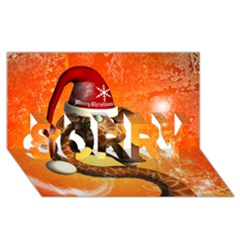 Funny Cute Christmas Giraffe With Christmas Hat SORRY 3D Greeting Card (8x4)