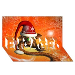 Funny Cute Christmas Giraffe With Christmas Hat ENGAGED 3D Greeting Card (8x4)