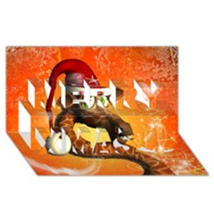 Funny Cute Christmas Giraffe With Christmas Hat Merry Xmas 3D Greeting Card (8x4)
