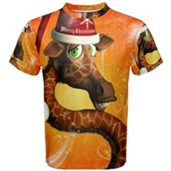 Funny Cute Christmas Giraffe With Christmas Hat Men s Cotton Tees