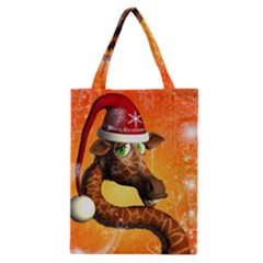 Funny Cute Christmas Giraffe With Christmas Hat Classic Tote Bags