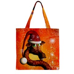 Funny Cute Christmas Giraffe With Christmas Hat Zipper Grocery Tote Bags