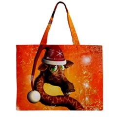 Funny Cute Christmas Giraffe With Christmas Hat Zipper Tiny Tote Bags