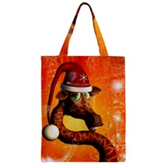 Funny Cute Christmas Giraffe With Christmas Hat Zipper Classic Tote Bags