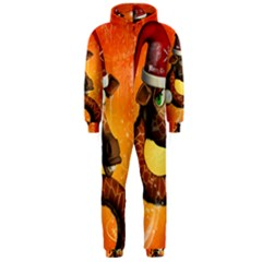 Funny Cute Christmas Giraffe With Christmas Hat Hooded Jumpsuit (Men)