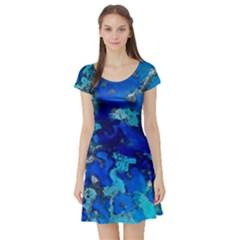 Cocos blue lagoon Short Sleeve Skater Dresses