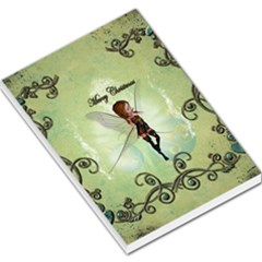 Cute Elf Playing For Christmas Large Memo Pads