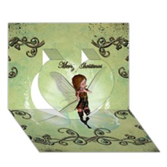 Cute Elf Playing For Christmas Heart 3D Greeting Card (7x5)