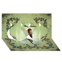 Cute Elf Playing For Christmas Twin Hearts 3D Greeting Card (8x4)