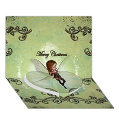 Cute Elf Playing For Christmas Heart Bottom 3D Greeting Card (7x5)