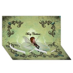Cute Elf Playing For Christmas Twin Heart Bottom 3d Greeting Card (8x4)