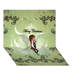 Cute Elf Playing For Christmas Clover 3d Greeting Card (7x5)