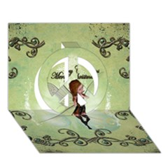 Cute Elf Playing For Christmas Peace Sign 3D Greeting Card (7x5)