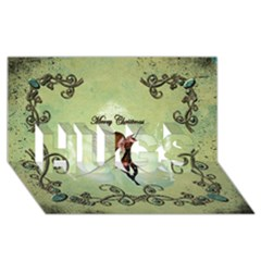 Cute Elf Playing For Christmas Hugs 3d Greeting Card (8x4)