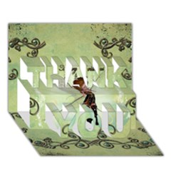 Cute Elf Playing For Christmas Thank You 3d Greeting Card (7x5)
