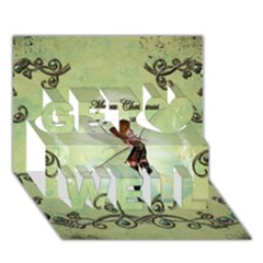 Cute Elf Playing For Christmas Get Well 3D Greeting Card (7x5)