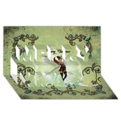 Cute Elf Playing For Christmas Merry Xmas 3D Greeting Card (8x4)