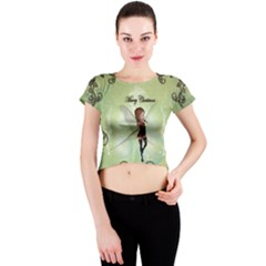 Cute Elf Playing For Christmas Crew Neck Crop Top