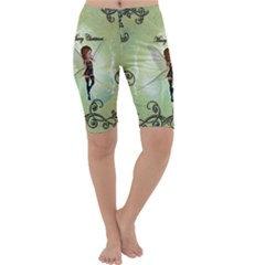 Cute Elf Playing For Christmas Cropped Leggings