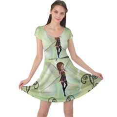 Cute Elf Playing For Christmas Cap Sleeve Dresses