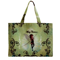 Cute Elf Playing For Christmas Zipper Tiny Tote Bags