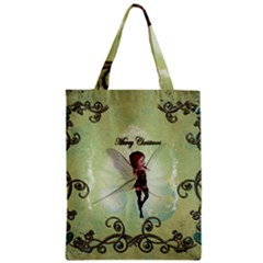 Cute Elf Playing For Christmas Zipper Classic Tote Bags