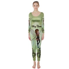 Cute Elf Playing For Christmas Long Sleeve Catsuit