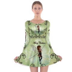Cute Elf Playing For Christmas Long Sleeve Skater Dress
