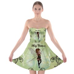 Cute Elf Playing For Christmas Strapless Bra Top Dress