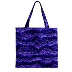 Alien Skin Blue Zipper Grocery Tote Bags