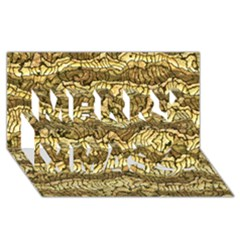 Alien Skin Hot Golden Merry Xmas 3D Greeting Card (8x4)