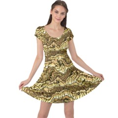 Alien Skin Hot Golden Cap Sleeve Dresses