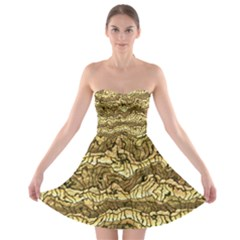 Alien Skin Hot Golden Strapless Bra Top Dress