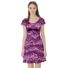 Alien Skin Hot Pink Short Sleeve Skater Dresses