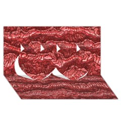 Alien Skin Red Twin Hearts 3d Greeting Card (8x4)