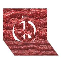 Alien Skin Red Peace Sign 3d Greeting Card (7x5)