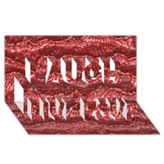 Alien Skin Red Laugh Live Love 3D Greeting Card (8x4)