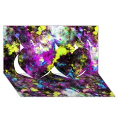 Colour Splash G264 Twin Hearts 3D Greeting Card (8x4)