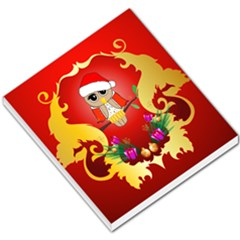 Funny, Cute Christmas Owl  With Christmas Hat Small Memo Pads