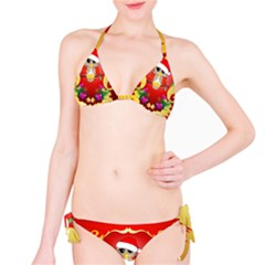 Funny, Cute Christmas Owl  With Christmas Hat Bikini Set