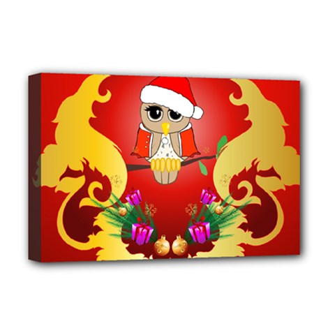 Funny, Cute Christmas Owl  With Christmas Hat Deluxe Canvas 18  x 12