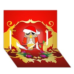 Funny, Cute Christmas Owl  With Christmas Hat I Love You 3D Greeting Card (7x5)