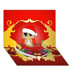 Funny, Cute Christmas Owl  With Christmas Hat Heart Bottom 3D Greeting Card (7x5)