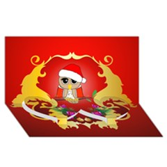 Funny, Cute Christmas Owl  With Christmas Hat Twin Heart Bottom 3d Greeting Card (8x4)