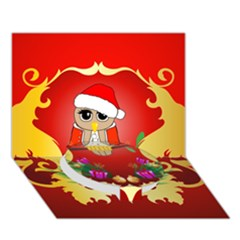 Funny, Cute Christmas Owl  With Christmas Hat Circle Bottom 3D Greeting Card (7x5)