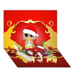 Funny, Cute Christmas Owl  With Christmas Hat LOVE Bottom 3D Greeting Card (7x5)