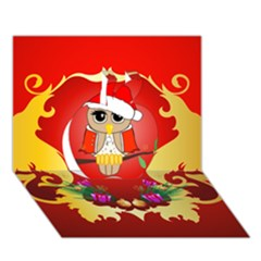 Funny, Cute Christmas Owl  With Christmas Hat Apple 3d Greeting Card (7x5)