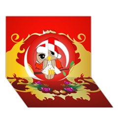 Funny, Cute Christmas Owl  With Christmas Hat Peace Sign 3D Greeting Card (7x5)