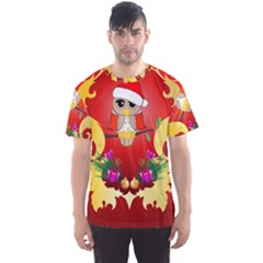 Funny, Cute Christmas Owl  With Christmas Hat Men s Sport Mesh Tees