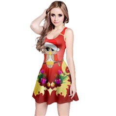 Funny, Cute Christmas Owl  With Christmas Hat Reversible Sleeveless Dresses